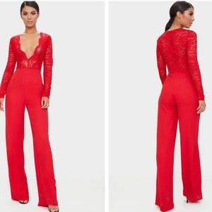 182a6255ba0f PrettyLittleThing Dresses   Red Lace Long Sleeve Plunge Jumpsuit ...